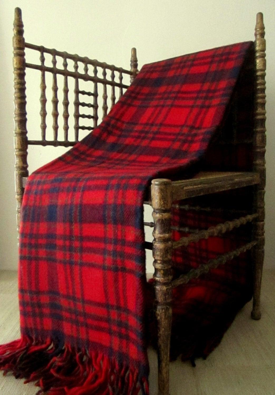 Vintage 1960s Pendleton Red Tartan Plaid Throw Blanket 100