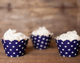 12 Navy Blue Polka Dot Cupcake Wrappers - Navy Blue Cupcake Wrappers - Great for Birthday Parties, Baby Showers & Bridal Showers