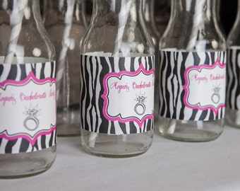 Bridal Shower Water Bottle Labels - Ring Theme Bachelorette Party Decorations - Engagement Party Labels in Hot Pink & Zebra (12)