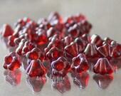 Siam Ruby Vega Baby Bell, Czech Flower Glass Beads 25