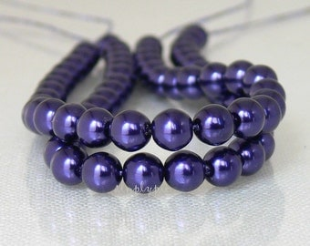 Royal Purple Pearls, Czech Glass Beads, 6mm Round 25