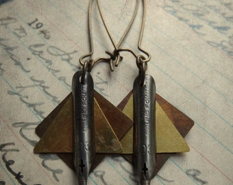 Antique Pen Nib and Geometric Dangle Earrings - Geonibs