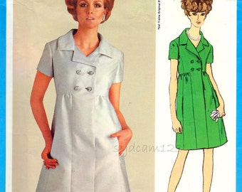 Vintage 1968 Empire Waist Double Breasted Coat Dress Pattern Teal Traina 1960s Vogue 1985 Bust 34 UNCUT