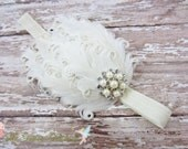 Feather Headband, Ivory Feather Headband w/ Pearl & Crystal Accent, Baptism, Christening, Wedding, Baby Toddler Child Girls Headband Adult