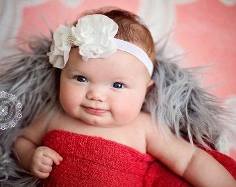 White Hair Bow, Snow White Ruffled Chiffon Bow w/ Pearls Headband or Hair Clip, Baptism, Christening, Baby Toddler Child Girls Headband