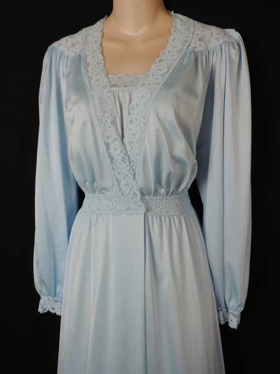 Blue Lace Peignoir Set Princess Nightgown And Robe