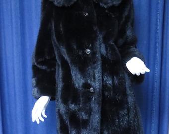 1960s Faux Fur Dark Chocolate Brown Coat Vintage Mid Century Mouton Jacket by Passport