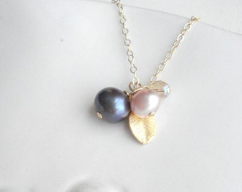 Multi Color Pearl Necklace Delicate Jewelry Pearl Cluster Necklace Botanical Necklace Minimalist Jewelry Berry Necklace Gold Gift For Her