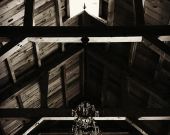 Barn Chandelier Photograph, Black And White Art, Rustic Home Decor, Elegant Photo, Country Wall Decor