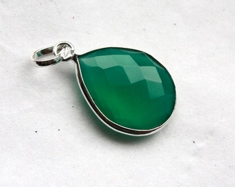 Green Onyx Teardrop Faceted Gemstone Pendant in Sterling Silver Setting // 15mm x 25mm