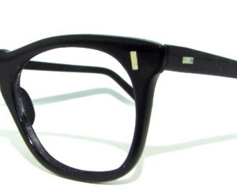 1950s Smaller Vintage Eyeglasses // 50s 60s Frames // Black // Buddy Holly Style // Virco Brand