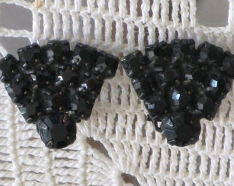 CLEARANCE SALE - Vintage Jet Black Rhinestone Earrings (E-1-4)