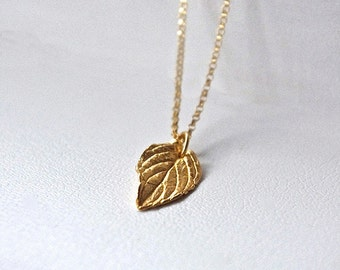 Small Gold Leaf Necklace, Gold Tiny Pendant Necklace, 24K Gold Plated Sterling Silver Necklace, Nature inspired Jewelry Gifts For Women