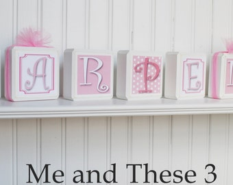 Wood letter name blocks custom to your style-Square pink white elephant chevron