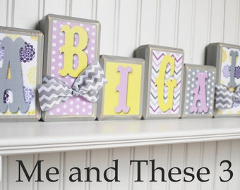 Wood letter name blocks-Custom to your style-Light purple yellow grey chevron flower polkadot