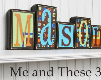 Wood letter name blocks - Custom to your style - Espresso brown blue lime green orange squares