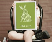 Childrens Personalized Name Poster - Custom Nursery Letter Art -  Alphabet Print -  Kid's Room Art
