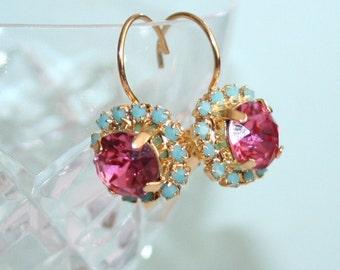 Girlish Pink Mint Earrings Spring Wedding Cluster Earrings Swarovski Rhinestone Turquoise Pink Bridal Earrings Gold Pink Wedding Jewelry