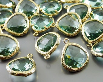 2 prasiolite green glass in textured gold bezel setting glass charms for jewelry making 5058G-PR (bright gold, prasiolite, 2 pieces)