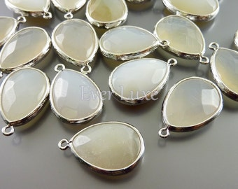 2 white agate synthetic jade stone in silver bezel frame setting / jewellery supplies  5069R-WA (bright silver, white agate, 2 pieces)