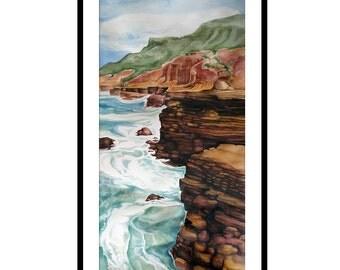 ocean painting, original watercolor seascape, nature art, ocean wall art, watercolor of the ocean