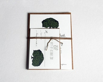 The Lydia Collection - Rustic Inspired Woodland Wedding Invitation Set with Oak Tree in Cream, Brown and Green - Purchase for a Sample
