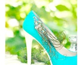 Wedding Shoe Clips Peacock & Herl Feathers. Something Blue Teal Turquoise, Bridal Bride Bridesmaid, Statement Couture, Antique Vintage Style