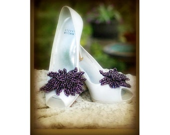 Aubergine Purple Shoe Clips. Bella Twilight Movie, Handmade Wedding Bride Bridals. Heel Luxe Couture Beading, Statement Gossip Girl Sex City
