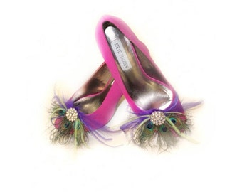 Shoe Clips Peacock & Purple Feathers Fan, Feminine Rhinestone Crystal, Spring Couture Bride Bridal Bridesmaid, Rockabilly Statement Fabulous