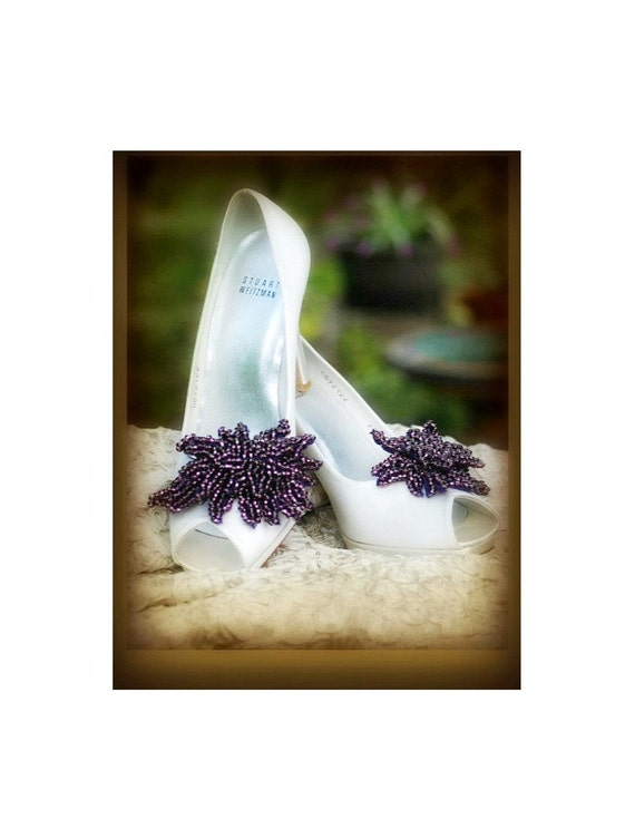 Aubergine Purple Shoe Clips. Bella Twilight Movie, Handmade Wedding Bride Bridals. Heel Luxe Couture Beading, Statement Gossip Girl Sex City