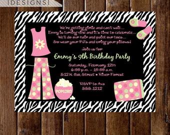 Sleepover Fun Birthday Party Invite - Sleepover - Sleep over Invitation - Girl Party - Birthday Invite - PRINTABLE INVITATION DESIGN