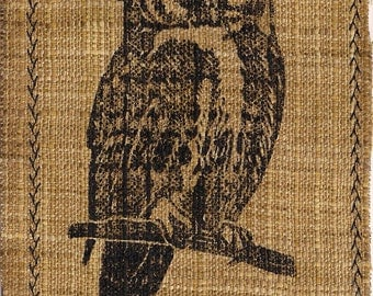 Eco Owl Linocut- Designer Linen Fabric- Upcycled Monoprint- - 4x6 inches- Signed