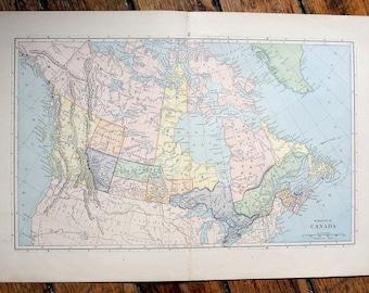 1887 CANADA ANTIQUE MAP - original antique print - map of north america - antique lithograph - provinces of Canada map