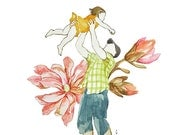father and little girl in loving moment watercolor drawing