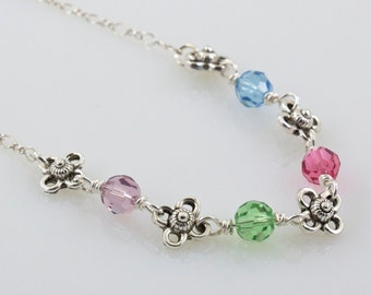 Family Birthstone Necklace, Birthday Necklace Floral, Personalize Woman, Sterling Silver Gift for Grandma, Mothers Day, Up to 12 Birthstones