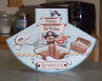 "Handmade Happy Birthday Adventure Card- 5.25"" x 7"" - Rocker Style - Decoupage Pirate, Parrot, Ship & Treasure Chest"