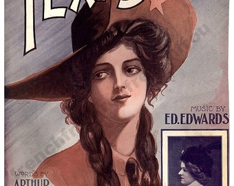 antique victorian illustration portrait of a beautiful texan cowgirl digital download