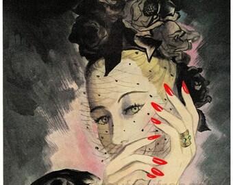 vintage pinup illustration the black widow portrait black roses digital download