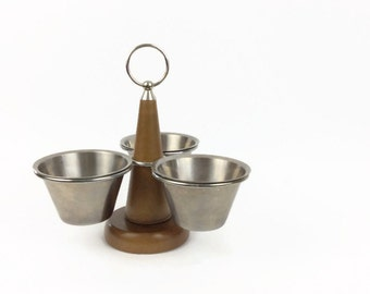 1960s Danish modern three bowl wood and stainless relish condiment server