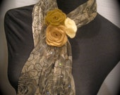 GOLDEN GIRL Skinny Fashion Scarf with Sparkle accent..Handsculpted Wool Felt Rosette flower pin/clip