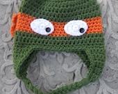 Ninja Turtle Ear Flap Hat - 3-5 Year Old Size - Hand Crocheted