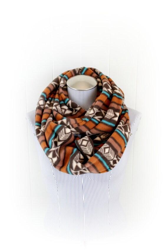 Tribal Print Fleece Infinity Scarf of Brown, Tan, Orange, Teal