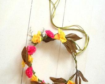 Yellow flower crown, small flower hair crown, hair accessory