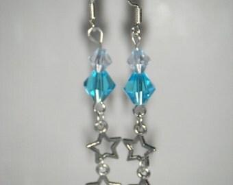 Star Earrings, Beaded Earrings, Dangle Earrings, Blue Bead, Dangling Stars, .925 Sterling Silver