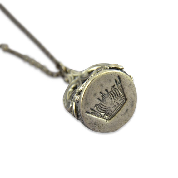 sterling silver white bronze crown wax seal stamper necklace