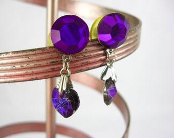Purple Heart Earrings, Crystal Heart Earrings, Royal Purple Dangle Earrings, Purple Rhinestone Earrings Pierced Ear, Purple Glass Earrings