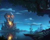 Peter Pan Skull Island Art Print