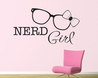 Nerd Girl Wall Sticker - Nerd Glasses Decal - Nerd Girl Decal - Large