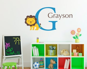 Lion Wall Decal with Initial & Name - Personalized Children Wall Decal - Lion Decal - Medium
