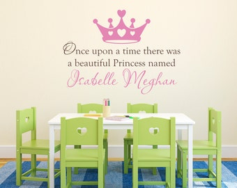 Princess Wall Decal - Personalized Name Decal - Once upon a time - Extra Large